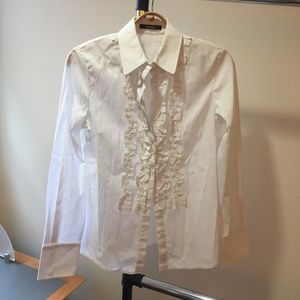 Tahari Button Down White Blouse